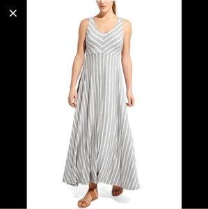 Athleta striped gray white maxi sleeveless dress